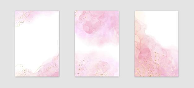 Abstracte roze vloeibare aquarel achtergrond met gouden crackers