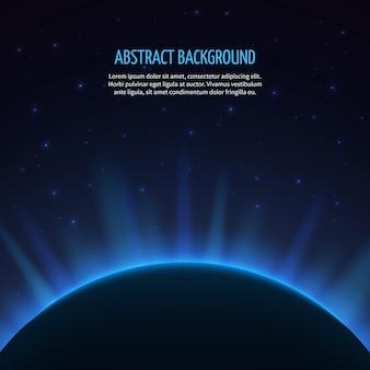 Abstracte ruimte achtergrond met planeet en rijzende zon. melkweg en aarde, zonsopgang astronomie, vectorillustratie