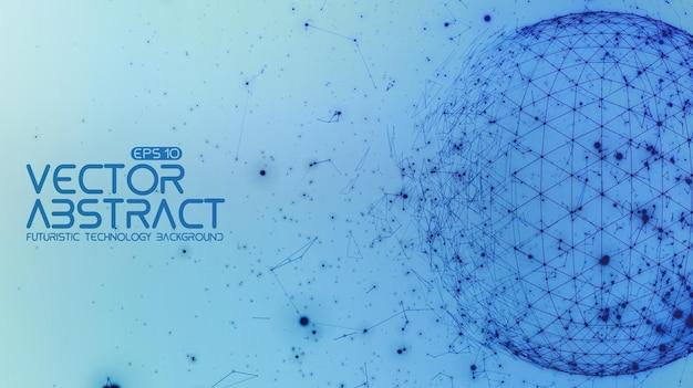 Abstracte ruimte blauwe achtergrond. chaotisch verbonden punten en polygonen die in de ruimte vliegen. vliegend puin. futuristische technologiestijl. elegante achtergrond voor zakelijke presentaties.