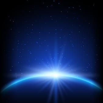 Abstracte ruimteachtergrond met planeet