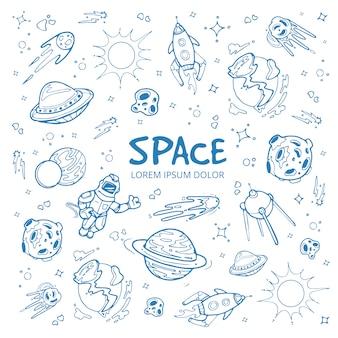 Abstracte ruimteachtergrond met planeten, sterren, ruimteschepen en universumvoorwerpen.