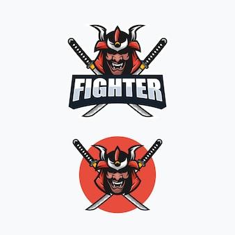 Abstracte samurai illustratie vector ontwerpsjabloon