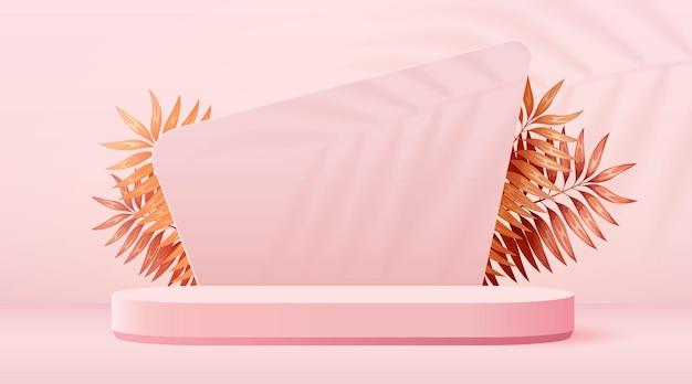 Abstracte scène achtergrond cilinder podium met bladeren op roze achtergrond productpresentatie mock u...