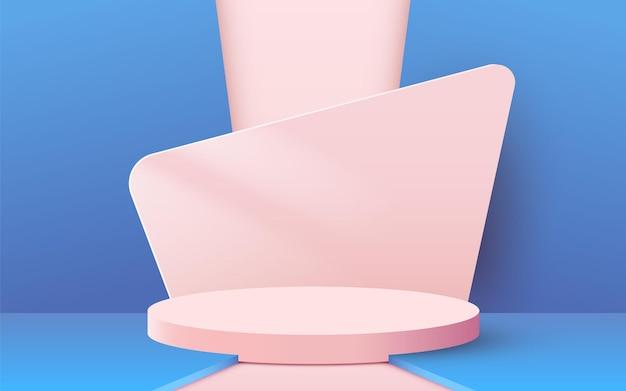 Abstracte scène achtergrond cilinder podium op roze achtergrond productpresentatie mock up