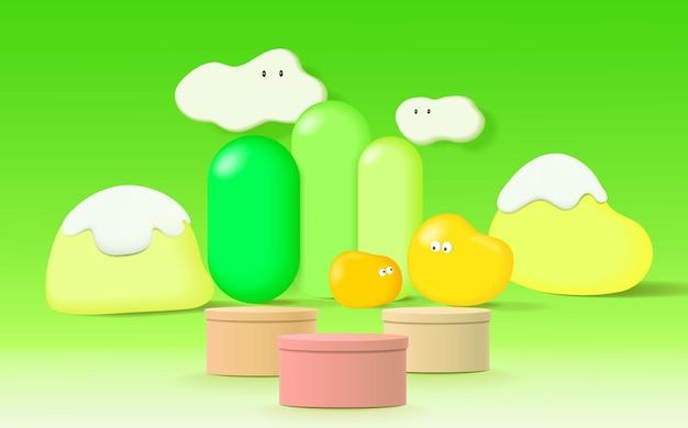 Abstracte scène. geometrie vorm podium achtergrond voor kinderen of baby product.