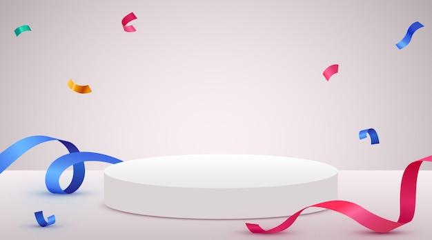 Abstracte scèneachtergrond met cilinderpodium, confettien en linten