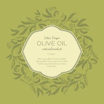 Abstracte schets organische sjabloon met tekst in elegant frame en olijven boomtakken in vintage stijl