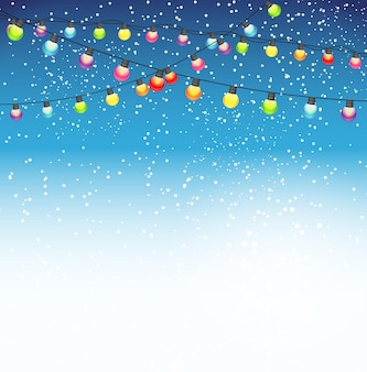 Abstracte schoonheid kerstmis en nieuwjaar achtergrond met garland bulb lights en vallende sneeuw. vectorillustratie. eps10
