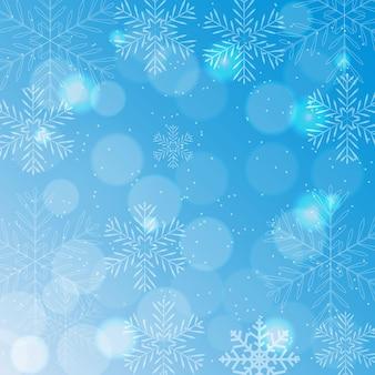 Abstracte schoonheid kerstmis en nieuwjaar achtergrond met sneeuw en sneeuwvlokken. vectorillustratie eps10