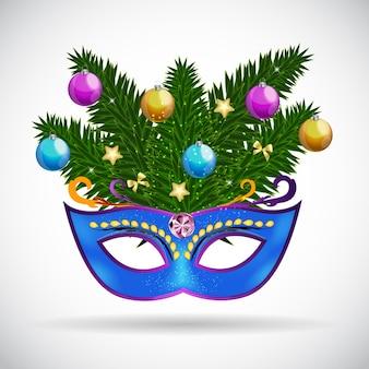 Abstracte schoonheid vrolijk kerstfeest en nieuwjaarsfeest achtergrond met maskerade carnaval masker