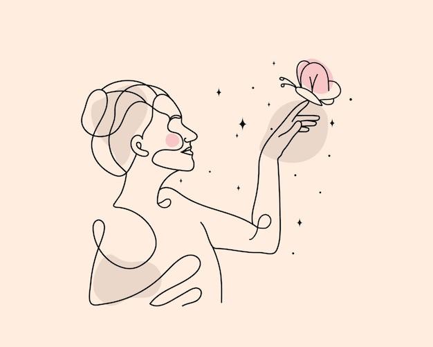 Abstracte schoonheid vrouw magische lijn kunst illustratie hemelse magische lijn kunst hand wassende ster maan