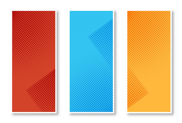 Abstracte set van stijlvolle halftone verticale banner achtergrond