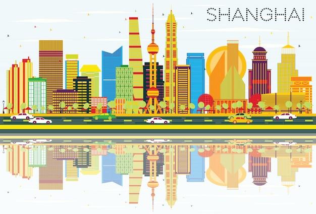 Abstracte shanghai skyline met kleur gebouwen, blauwe lucht en reflecties
