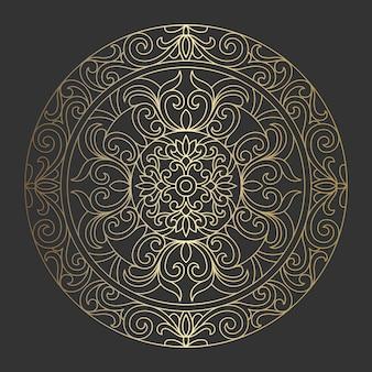 Abstracte sierlijke mandala patroon. elegante vintage gouden ronde sieraad.