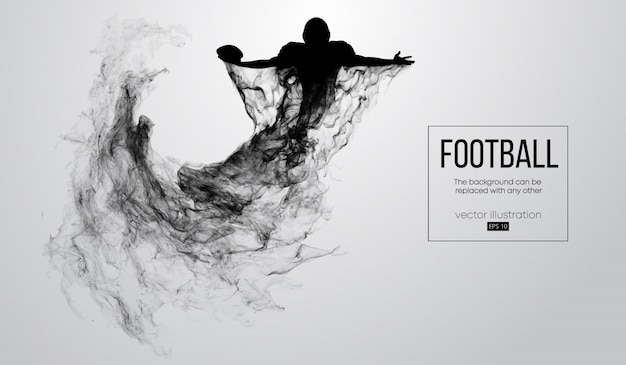 Abstracte silhouet van een american football-speler op witte achtergrond van deeltjes, stof, rook, stoom. football-speler houdt bal, winnaar. rugby.