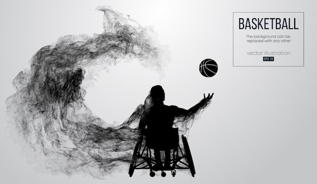 Abstracte silhouet van een basketbalspeler uitgeschakeld op witte achtergrond van deeltjes, stof, rook, stoom. basketballer voert een bal gooien.