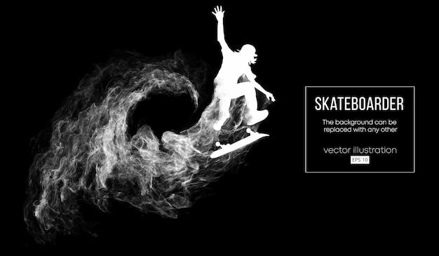 Abstracte silhouet van een skateboarder op de donkere zwarte achtergrond van deeltjes
