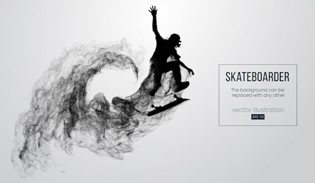 Abstracte silhouet van een skateboarder op de witte achtergrond van deeltjes