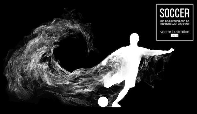 Abstracte silhouet van een voetballer op donkere zwarte achtergrond van deeltjes. voetballer rennen springen met bal. wereld- en europese competitie.
