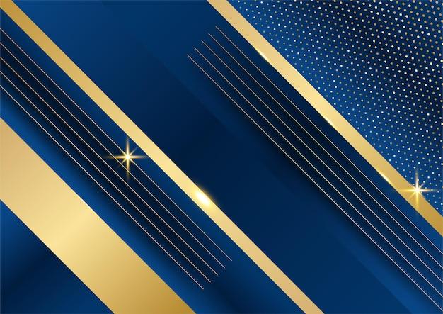 Abstracte sjabloon donker blauwe luxe premium achtergrond met luxe driehoeken patroon en gouden verlichting lijnen.