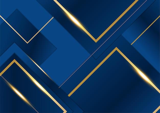 Abstracte sjabloon donker blauwe luxe premium achtergrond met luxe vierkanten patroon en gouden verlichting lijnen.