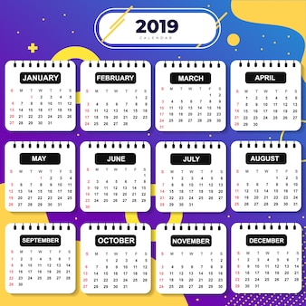 Abstracte sjabloon kalender 2019 thema