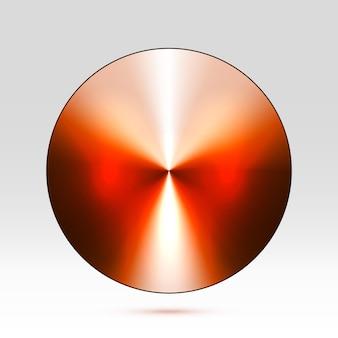Abstracte sjabloon van ronde metalen schijf of knop met donkere warme stalen fractal textuur