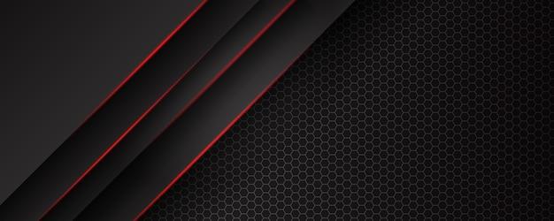 Abstracte sjabloon zwarte achtergrond met driehoekenpatroon en rode verlichtingslijnen. sporttechnologie modern ontwerpconcept.