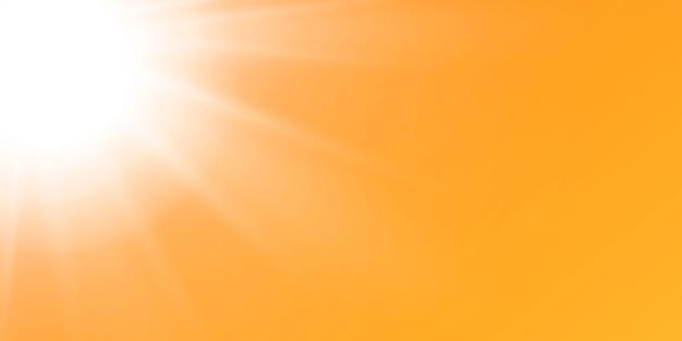 Abstracte sprankelende lens flare met sprankelende zon op een gele en oranje achtergrond. een warme zon die gevuld is met natuurlijke lichtstralen. geïsoleerde illustratie.