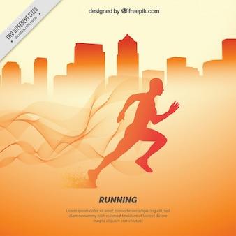Abstracte stad achtergrond met runner silhouet