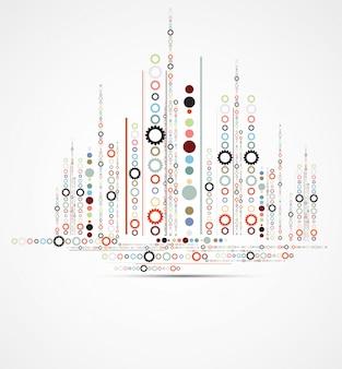 Abstracte stad met futuristische vector van de toesteltechnologie onroerende goederenachtergrond