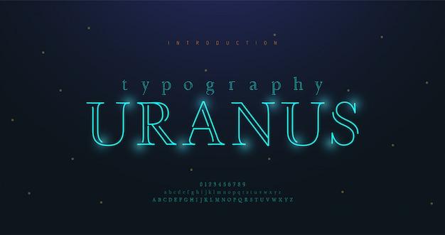 Abstracte stedelijke dunne lijn lettertype alfabet. minimale moderne neonlettertypen en cijfers. typografie lettertype hoofdletters in kleine letters en cijfers. illustratie