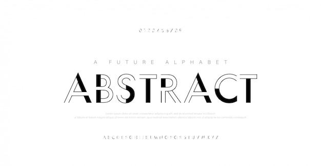 Abstracte stedelijke dunne lijn lettertype alfabet.