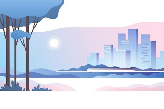 Abstracte stedelijke landschapsillustratie