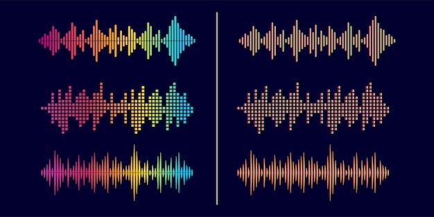 Abstracte stijl geluidsgolf equalizer ontwerpsjabloon collectie