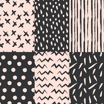 Abstracte stijl hand getekend patroon collectie