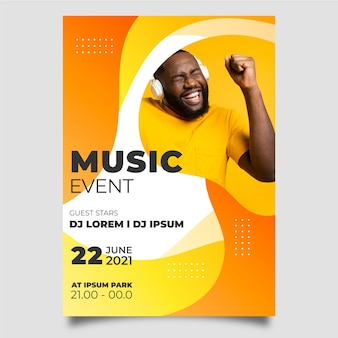 Abstracte stijl muziek poster met foto