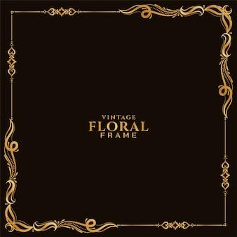 Abstracte stijlvolle gouden bloemen frame achtergrond vector