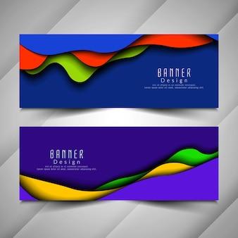 Abstracte stijlvolle kleurrijke golvende banners instellen