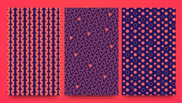 Abstracte stijlvolle naadloze patroon ontwerpset
