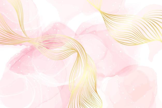 Abstracte stoffige blush vloeibare aquarel achtergrond met gouden golvende lijnen