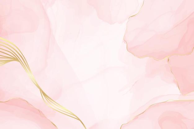 Abstracte stoffige blush vloeibare aquarel achtergrond met gouden lijnen