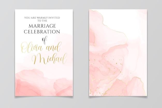 Abstracte stoffige blush vloeibare aquarel trouwkaart set met gouden scheuren