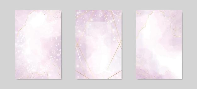 Abstracte stoffige lavendel vloeibare aquarel achtergrond met gouden lijnen frame en vlekken