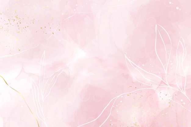 Abstracte stoffige roze blush vloeibare aquarel achtergrond met gouden, florale decoratie-elementen. pastelroze marmeren alcoholinkt tekeneffect, gouden lijnen en takken. vector illustratie.