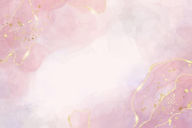 Abstracte stoffige roze vloeibare aquarel achtergrond met gouden crackers