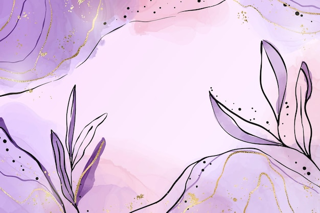Abstracte stoffige violet vloeibare aquarel achtergrond met tak en bladgoud elementen. pastel lavendel alcohol inkt tekeneffect met gouden vlekken. vectorillustratie van botanisch elegant behang