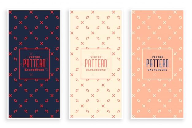 Abstracte subtiele geplaatste patroonbanners