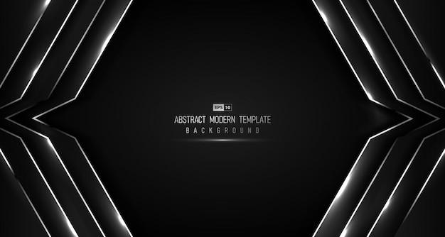 Abstracte tech ontwerp van zwarte gradiënt luxe met glitter ontwerp achtergrond.