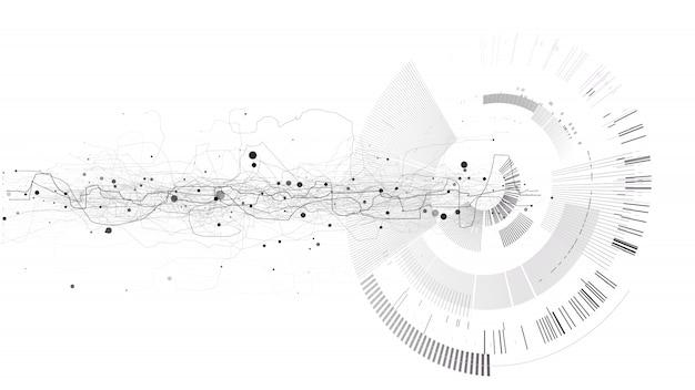 Abstracte tech ontwerpachtergrond. technische technologie behang gemaakt met lijnen, stippen, cirkels.